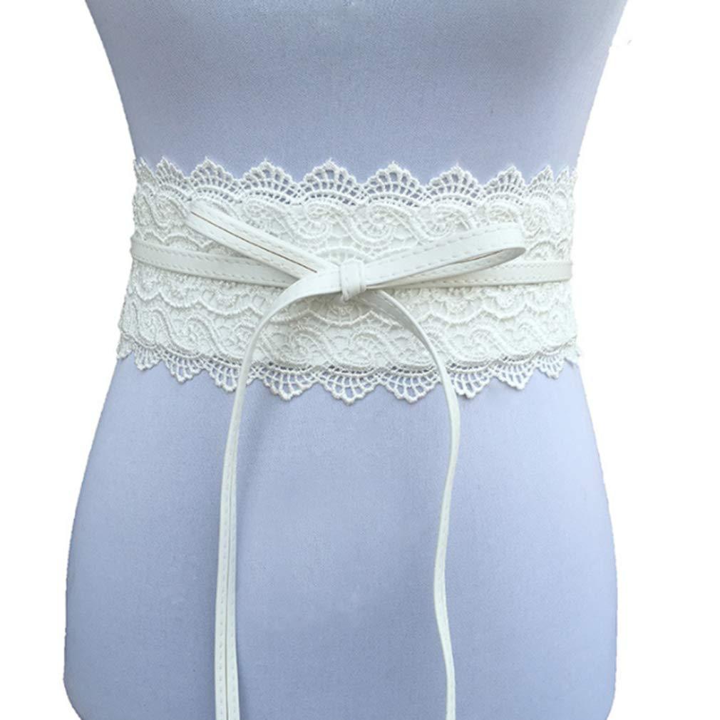 YESMAEA Womens Lace Belt Bow Tie Wrap Bandage Waist Band Boho Corset Wide Belt,White