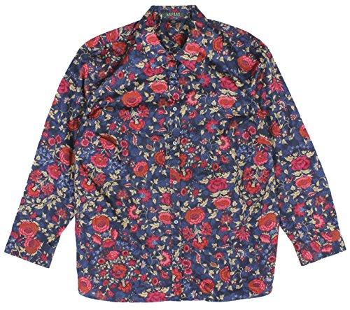 Lauren Ralph Lauren Women's Plus Size Floral-Print Sateen Shirt 3X Indigo
