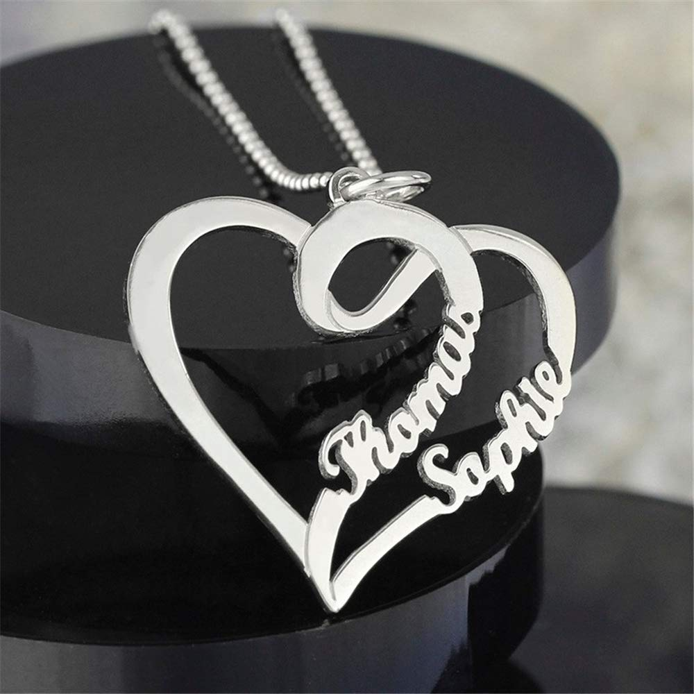 Jumping Birthstone Personalized Custom Couple//Lover Name Heart Necklace Pendant Sterling Silver Chain Customized Gift