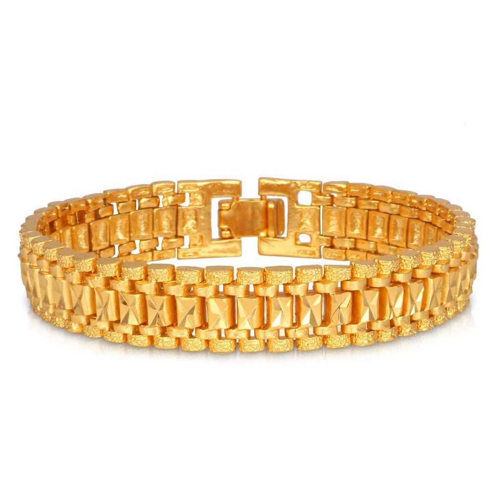 U7 Men Wrist Chain Bracelet 18K Gold Plated 12mm Wide Link Bracelets 21CM by U7 (Image #1)