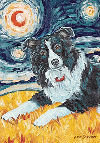 Toland Home Garden Van Growl Border Collie 28 x 40 Inch Decorative Puppy Dog Portrait Starry Night House Flag