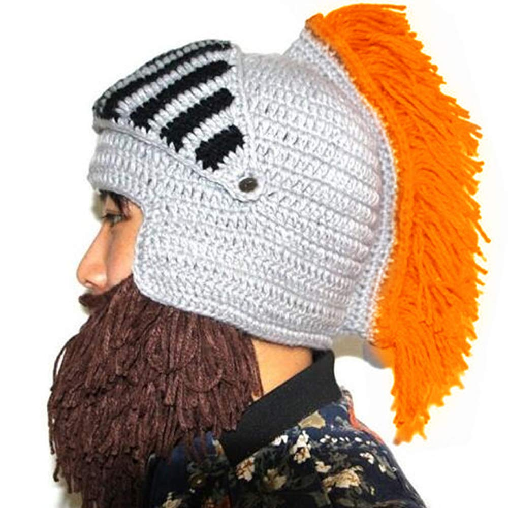 5bf93a0b5 YEKEYI Wig Beard Hats Cosplay Roman Knight Knitted Helmet Winter Sports  Warmer Cap Ski Funny Mask Beanie