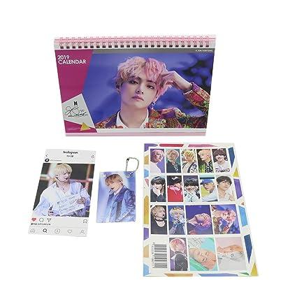 BTS Bangtan Boys Taehyung Desk Calendar with Instagram Card, Key Cahin Mini Photo Card (