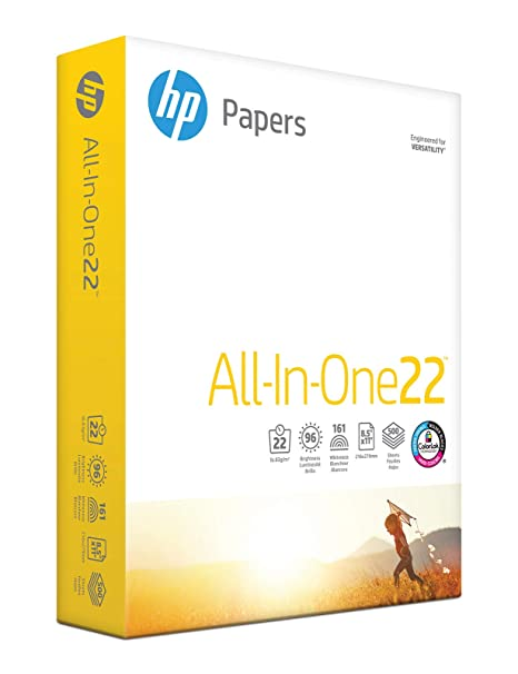 HP Printer Paper, All In One22, 8 5 x 11 Paper, Letter Size, 22lb Paper, 96  Bright, 500 Sheets/ 1 Ream (207010R) Acid Free Paper