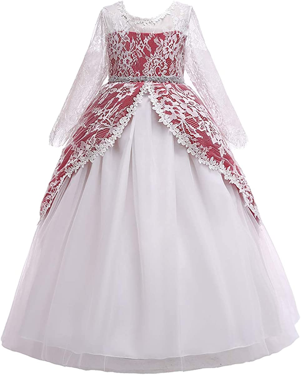 Amazon Com Girls Long Sleeve Royal Palace Lace Dance Princess Gothic Victorian Gowns Fancy Masquerade Dress Up For Party Wedding Pageant Red 5 6 Years Clothing,Nashville Wedding Dresses