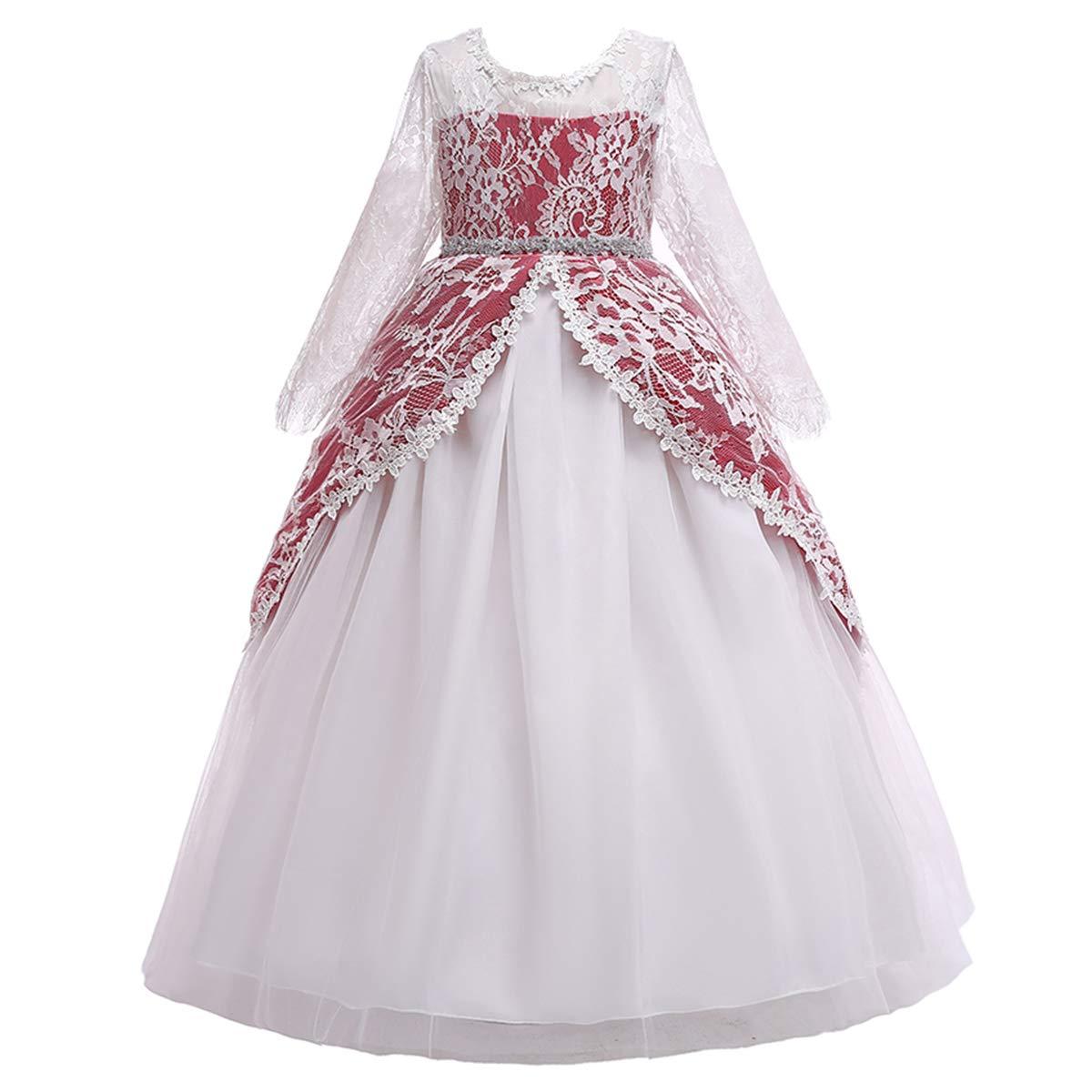2d2da7dfb Amazon.com  Girls Long Sleeve Royal Palace Lace Dance Princess ...