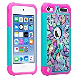 Wydan Studded Diamond Case for iPod Touch 6th, 5th Generation - Rhinestone Bling Hybrid Shock Absorbant Cover - Teal Flower for iPod Touch 5/6 Gen for Apple