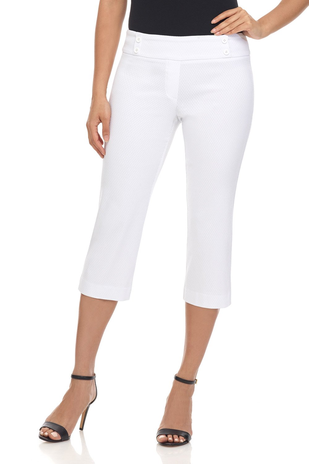 Rekucci Women's Ease in to Comfort Fit Capri with Button Detail (6,White Diamond Texture)