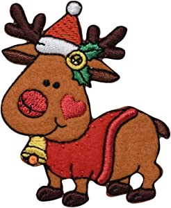 Christmas Reindeer Iron on Embroidered Patch