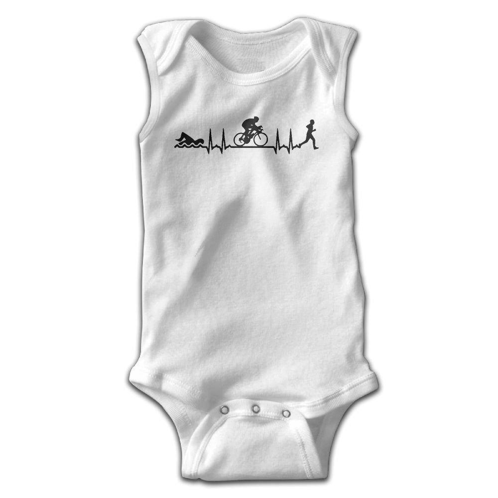 Swim Bike Run Heartbeat Infant Baby Boys Girls Crawling Suit Sleeveless Onesie Romper Jumpsuit White