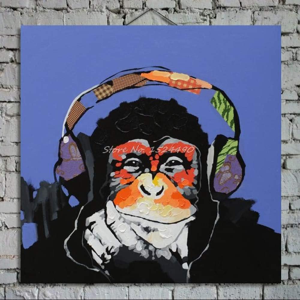 Pintura Al Óleo Original para Pintado A Mano,El Pensamiento Moderno Abstracto Novedad Animal Orangután Lienzo Coloridas Ilustraciones De Cuadros Pintados A Mano para La Decoración Dormitorio Salón