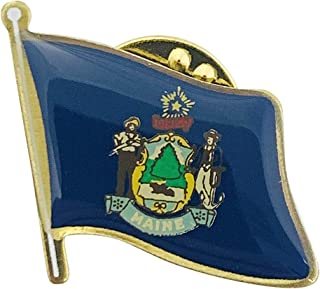 product image for Set of 12 Maine Single Waving State Flag Lapel Pin - Made in USA!