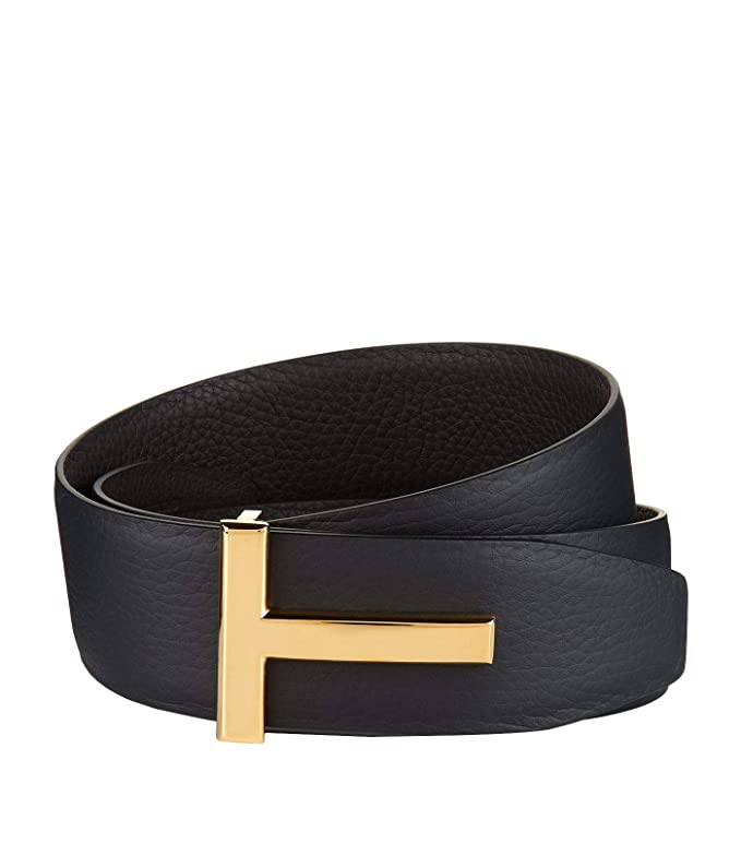 Tom Ford Signature T Buckle Reversible Black/Dark Brown Icon Belt (36/95)