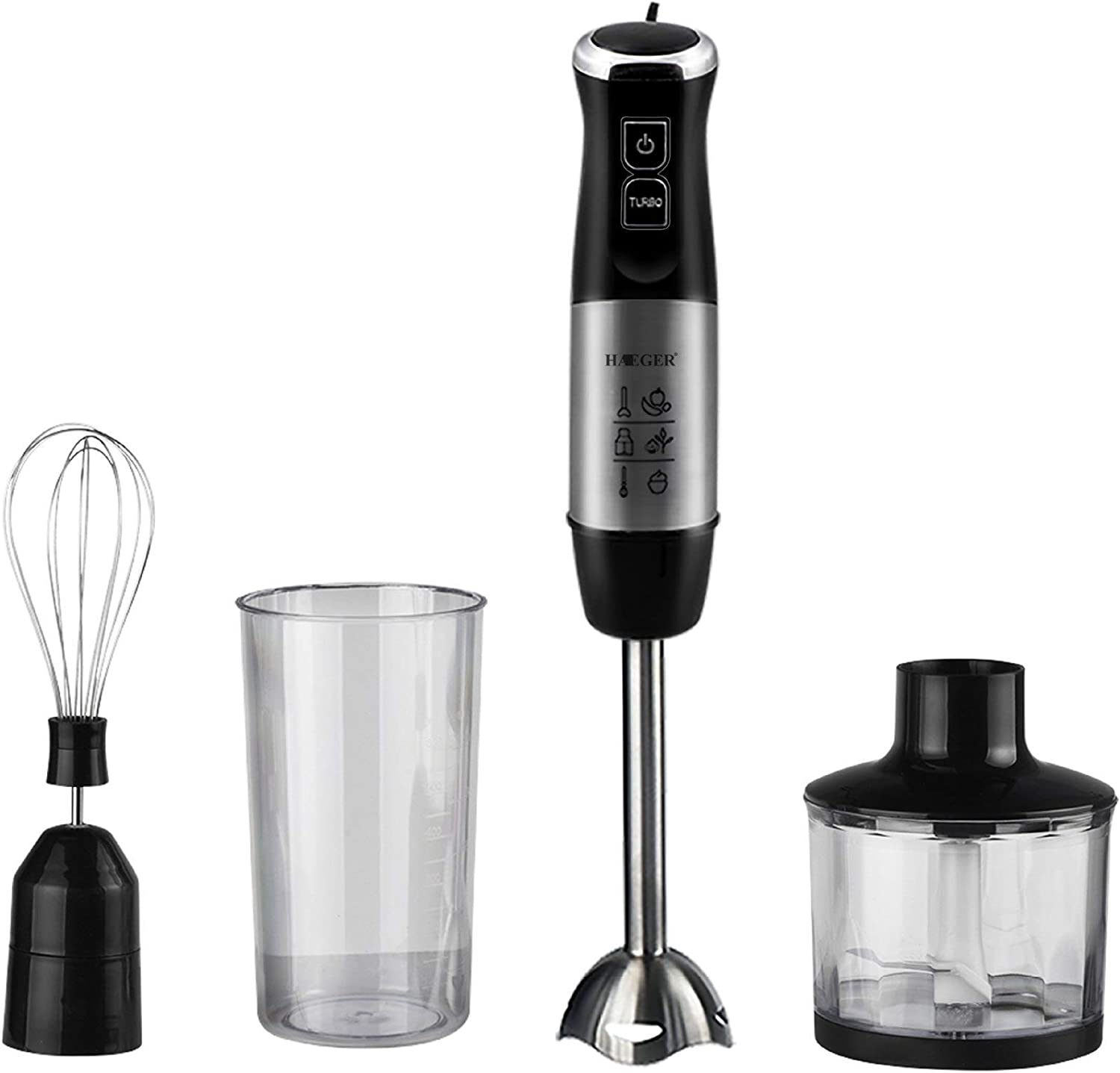 XIAO WEI Hand Blender Made of Stainless Steel (800 watt Mixer Chopper Whisk and Food Processor incl. 4-Piece Accessories) Hand Blender Set Hand Blender Hand Mixer Black