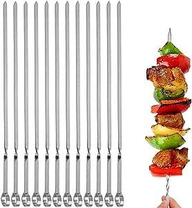 12PCS Kabob Skewers Flat Metal BBQ Barbecue Skewer 14