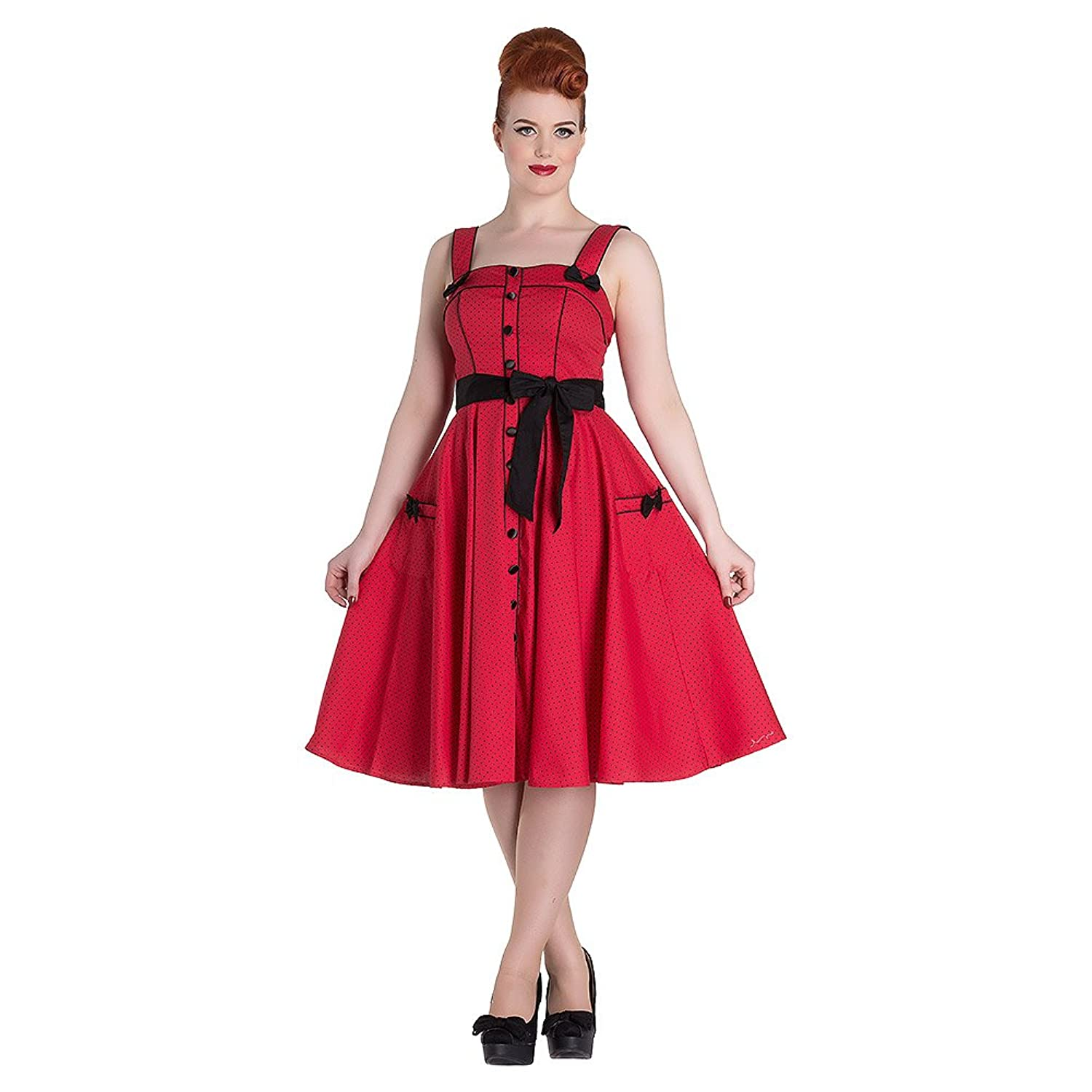 Hell Bunny Rockabilly Pinup MARTIE 50s Dress Polka Dot ~ Red All Sizes