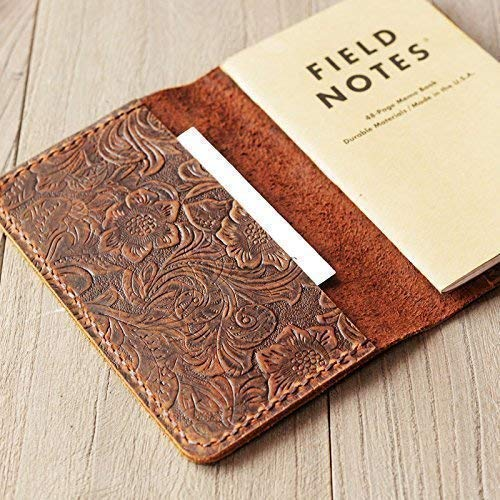Refillable genuine tooled Leather Journal Cover for Moleskine Cahier Notebook Pocket size 3.5 x 5.5 Field Notes Cover Vintage Refillable Notepad