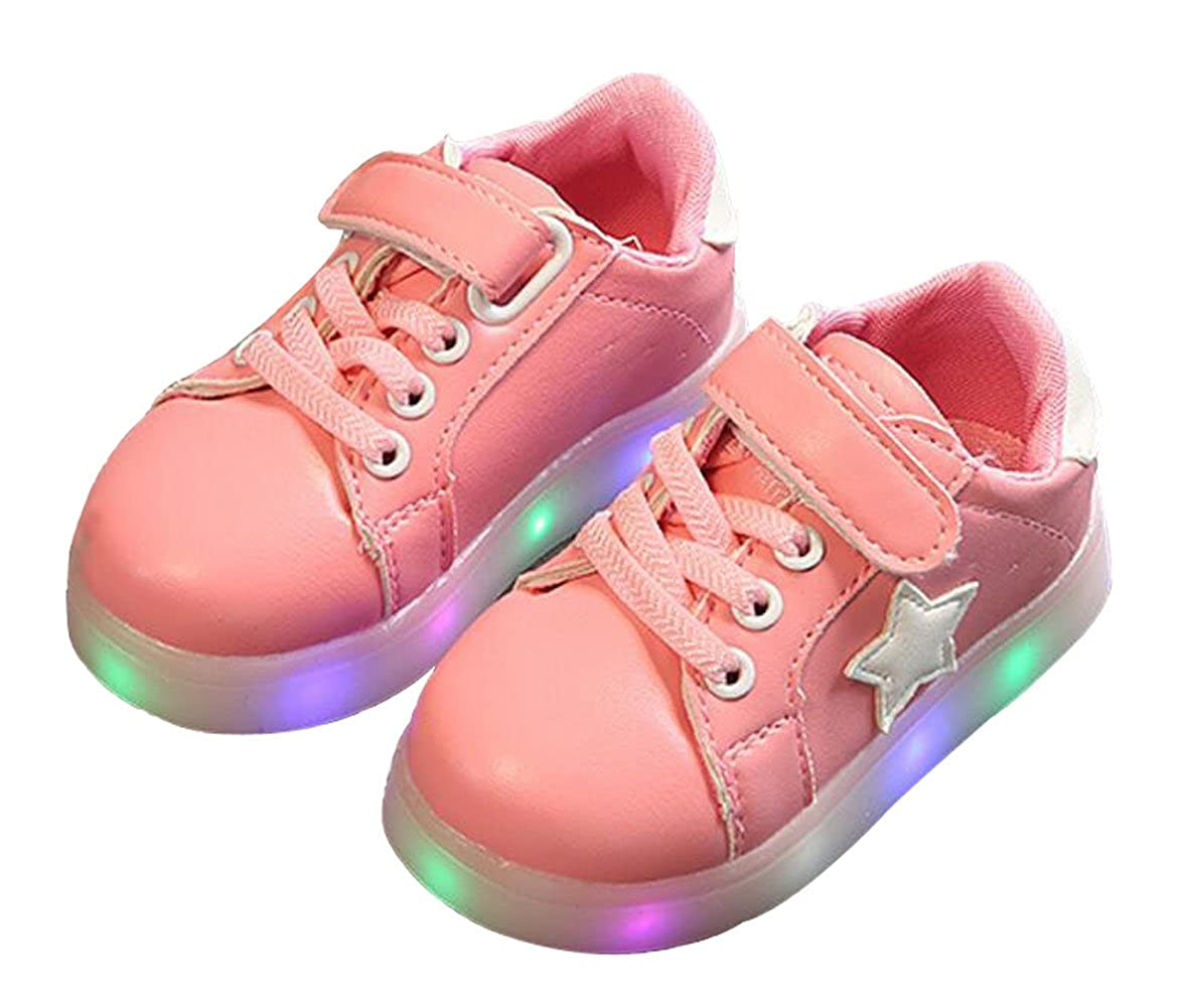 Otamise Girls' 11 Color Led PU Sneakers Light Up Flashing Skateboard Shoes (Toddler/Little Kid/Big Kid)