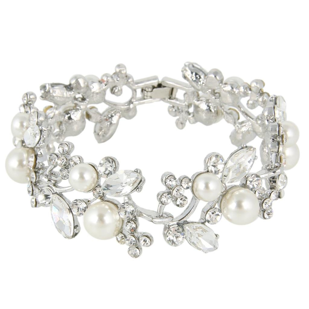 EVER FAITH Silver-Tone Austrian Crystal White Simulated Pearl Bridal Floral Leaf Tennis Bracelet Clear