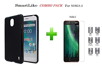 best sneakers e55f5 42475 SmartLike Nokia 2 TEMPERED GLASS + 1 SILICON Back Cover (COMBO PACK)