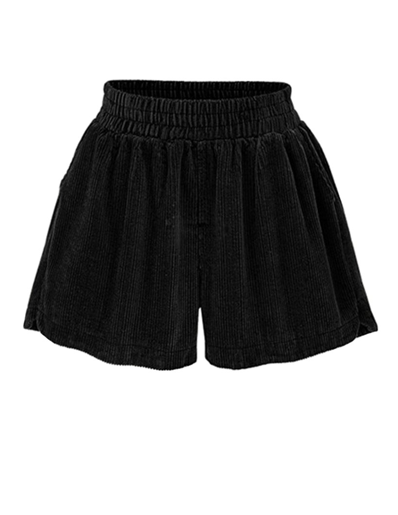 Ainovile Women's High Waist Velvet Wide Leg Corduroy Boots Shorts Large Black