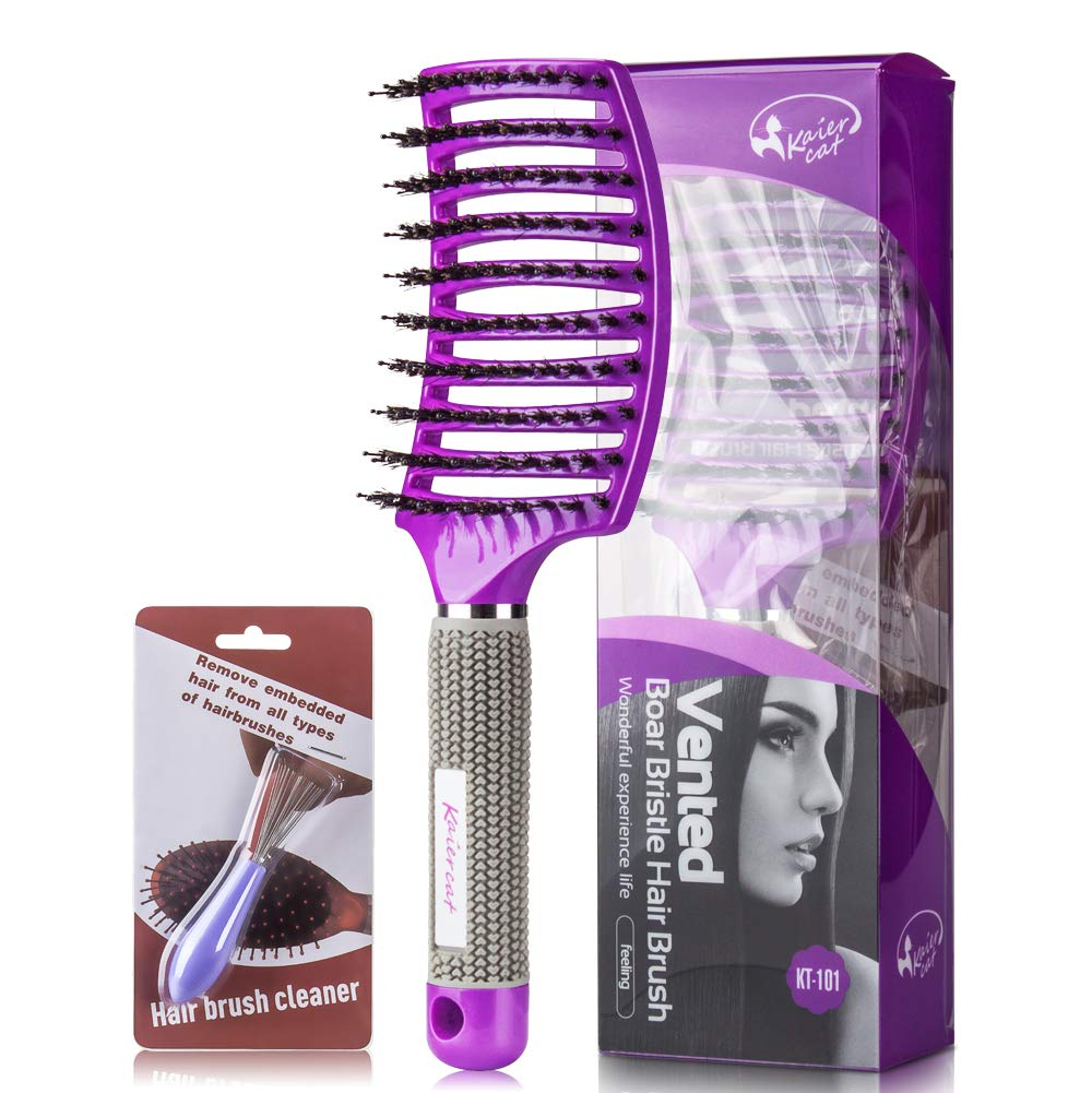 Boar Bristle Brush-Best at Detangling Thick Hair Vented For Faster Drying -100% Natural Boar Bristles for Hair Oil Distribution Purple