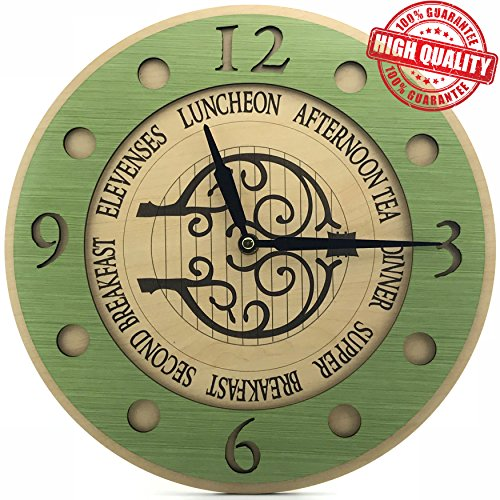HV Store SECOND BREAKFAST LOTR Non-Ticking Wooden Wall Clock (Decor Room Breakfast Wall)