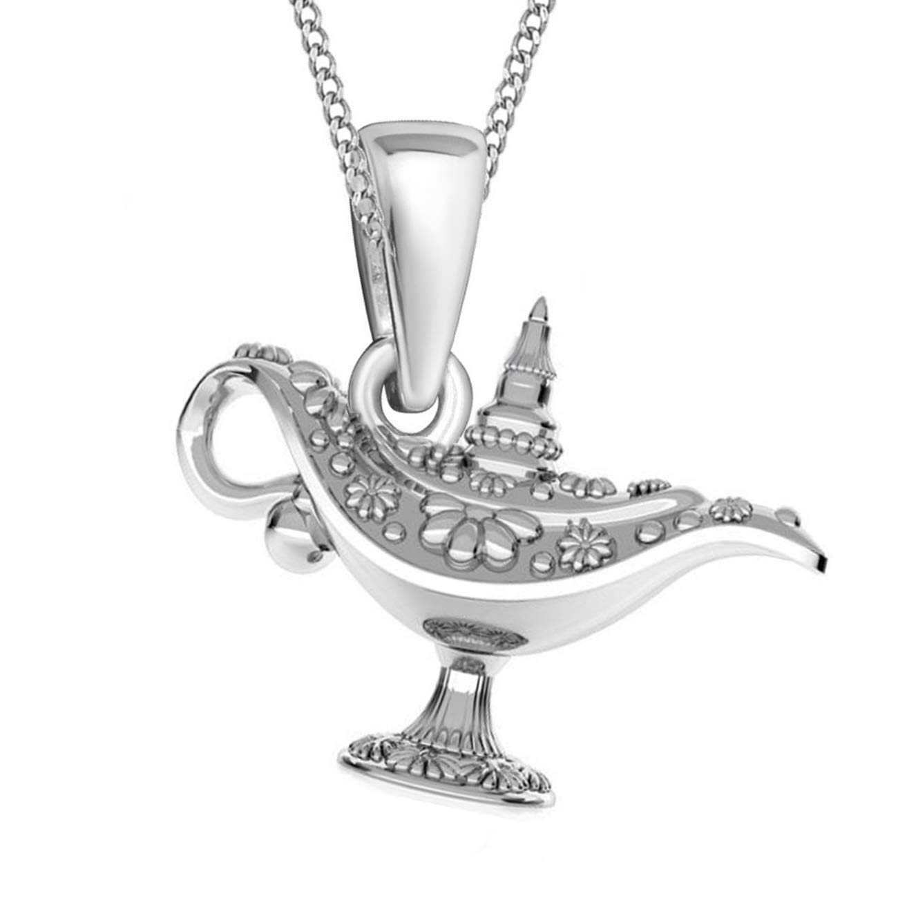 Aladdin Wunderlampe Anh/änger mit Halskette aus 925er Echt Sterling-Silber