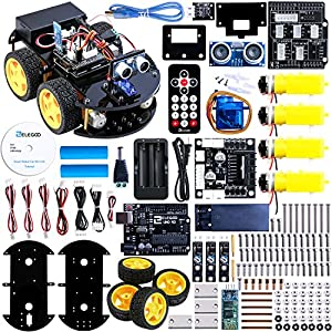Elegoo UNO Project Upgraded Smart Robot Car Kit with UNO R3, Line Tracking Module, Ultrasonic Sensor, Bluetooth module ect. Latest Intelligent and Educational Toy Car for Kids Teens 2016 new version