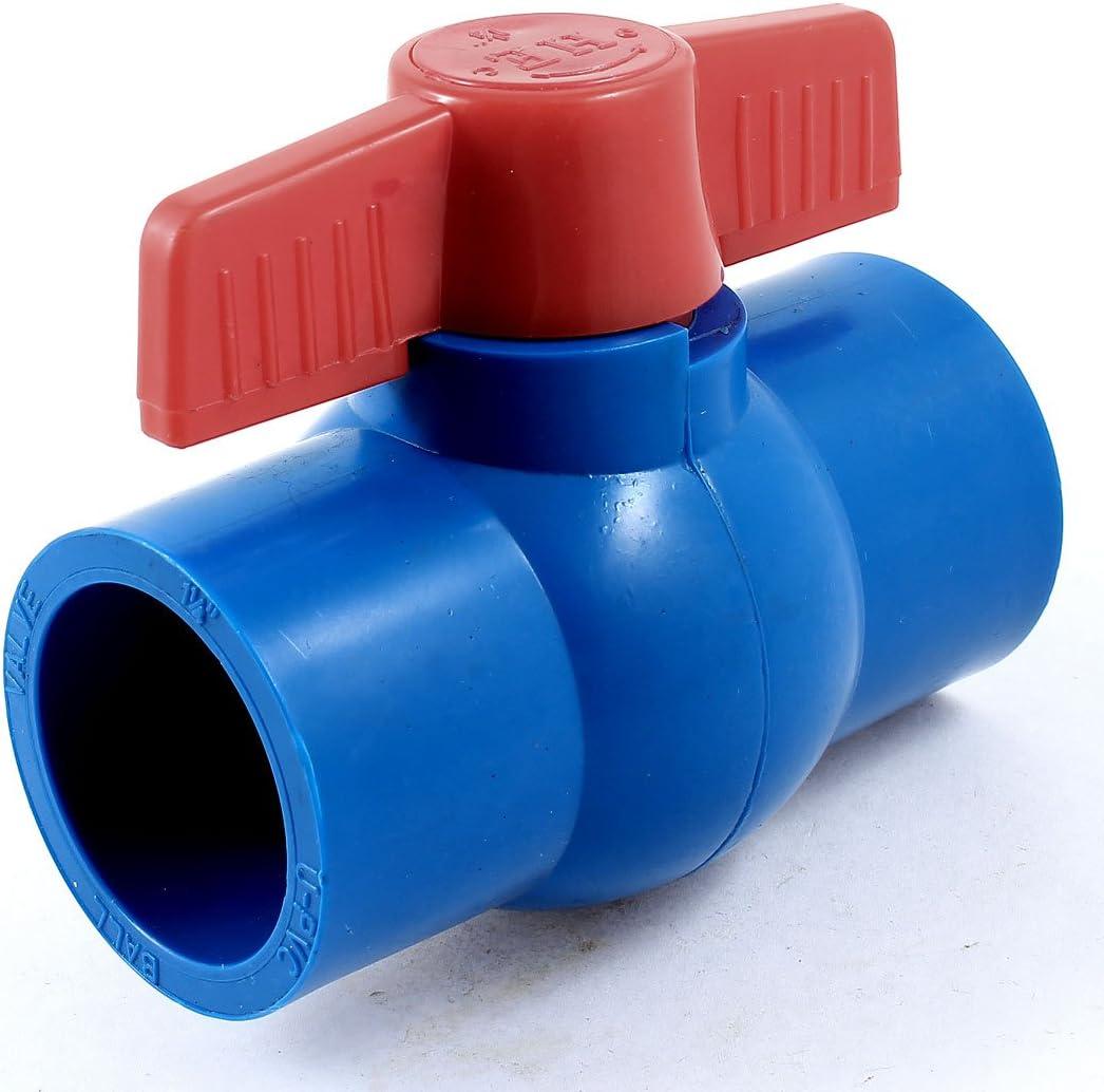 sourcing map Plomberie 40mm x 40mm T poign/ée Tuyau robinet port complet PVC Vanne /à boule Bleu Rouge