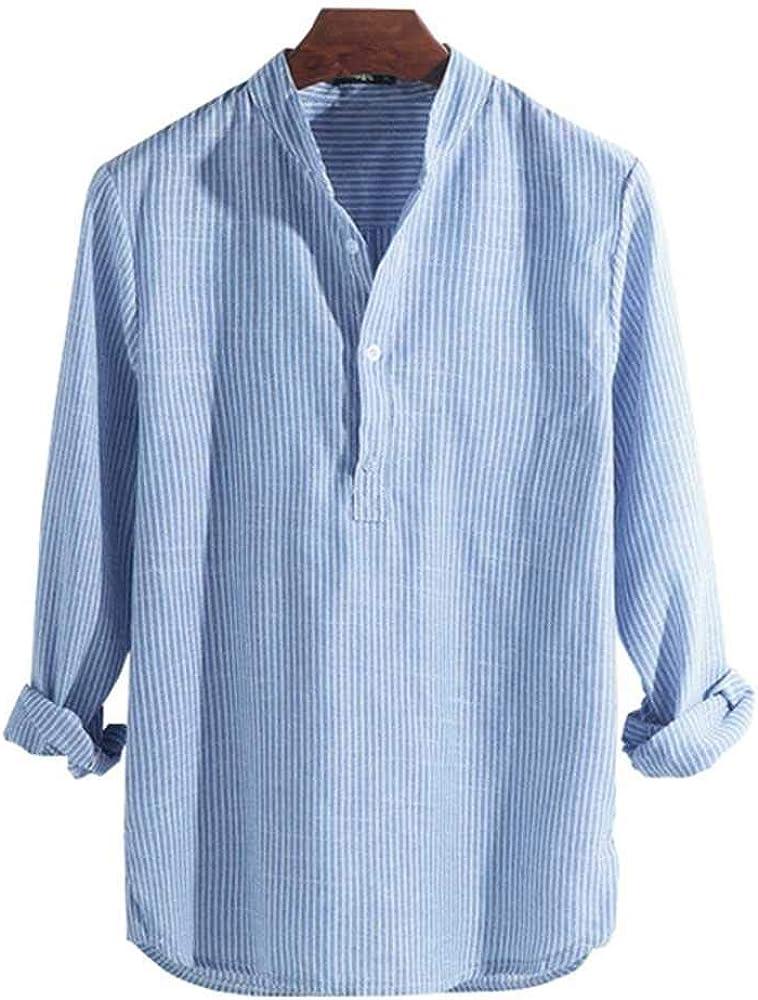 Camisas Hombre Camisa Masculina Primavera Verano Camisa Casual para Hombres Algodón Manga Larga A Rayas Slim Fit Camisas con Cuello Alto S-5XL: Amazon.es: Ropa y accesorios