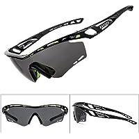 BATFOX Polarized Sports Sunglasses, Memory-Metal Flexible Adjustment Anti-Slip/Good Fit Glasses Leg, 20 Air Vents Frame