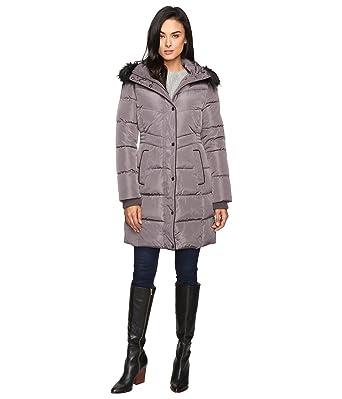 Jessica Simpson Womens Long Puffer W Waist Detail Hood And Faux Fur