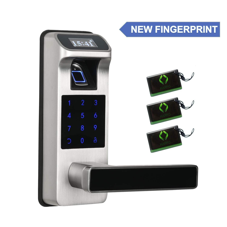 Newest Fingerprint and Touchscreen Keyless Smart Lever Door Lock for Office Home, 2020 New Model (Sliver)