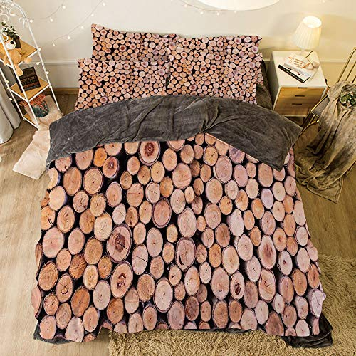 ces on The Bed Duvet Cover Set for Bed Width 6.6ft Pattern by,Rustic Home Decor,Mass of Wood Log Forest Tree Industry Group of Cut Lumber Circle Stack Image,Cream ()