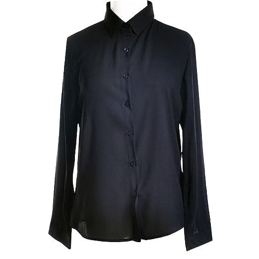 c3df15524cc Shawhuaa Womens Chiffon Long Sleeve OL Loose Button Down Shirt at Amazon  Women s Clothing store