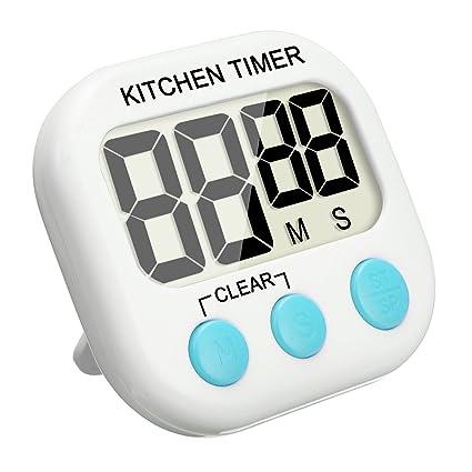 Temporizador Digital, EIVOTOR Temporizador de Cocina, Reloj de Cocina con Pantalla Extra Grande, Alarma, Imán, Base Retráctil y Gancho para Colgado - ...