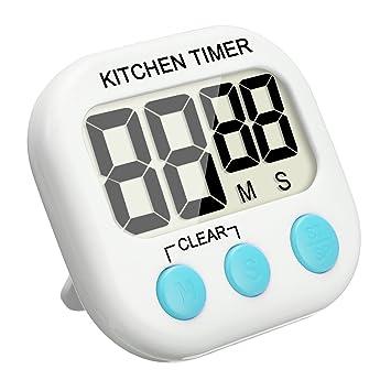 Temporizador Digital, EIVOTOR Temporizador de Cocina, Reloj de Cocina con Pantalla Extra Grande, Alarma, Imán, Base Retráctil y Gancho para Colgado - Azul: ...
