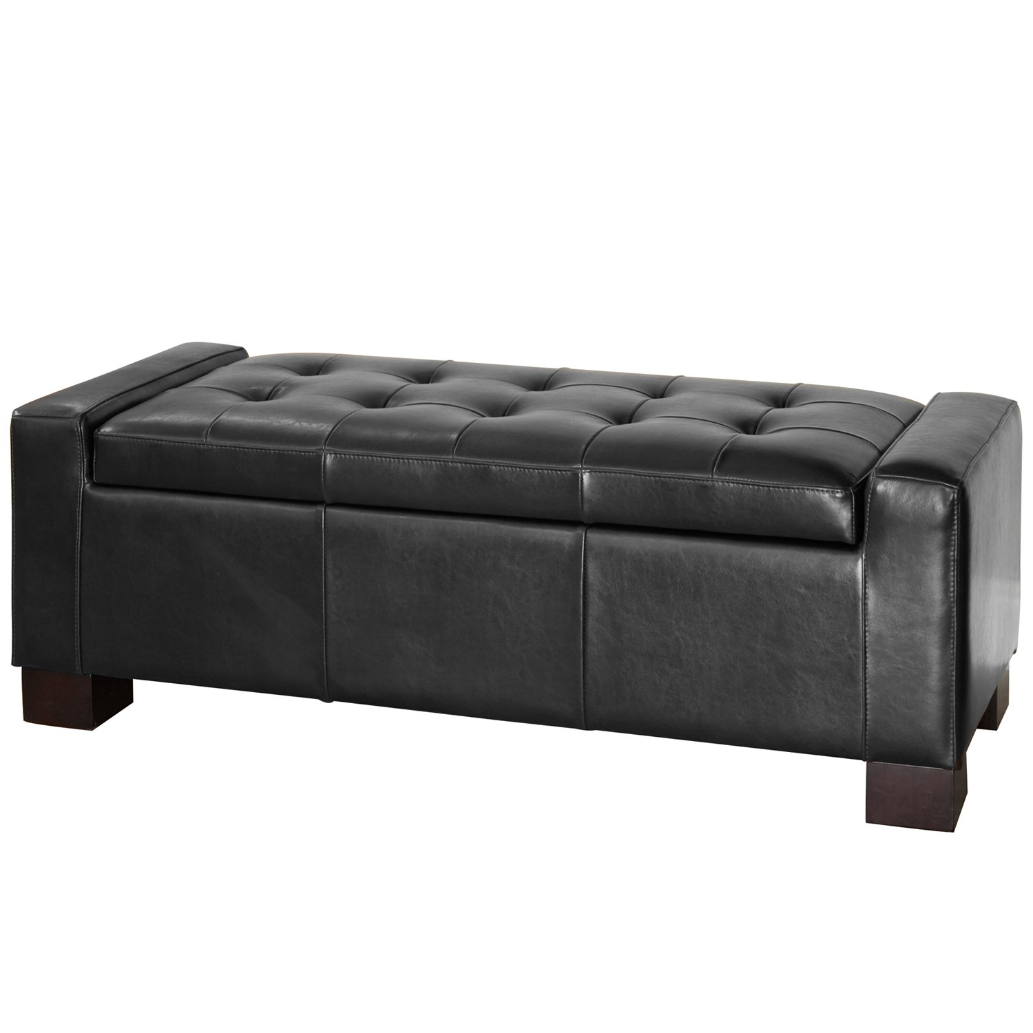 Amazon.com: Best Selling Guernsey Black Leather Storage Ottoman: Kitchen U0026  Dining