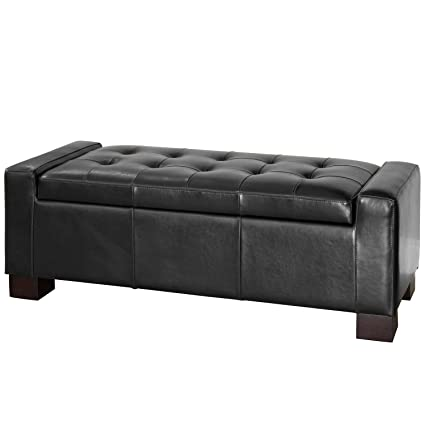 Superbe Best Selling Guernsey Black Leather Storage Ottoman