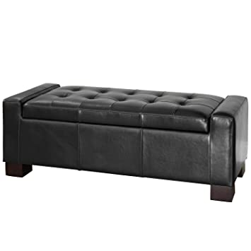 Amazoncom Best Selling Guernsey Black Leather Storage Ottoman