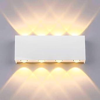 Lightess 16W Apliques de Pared LED Interior Lámpara de Pared Exterior Impermeable IP65 Luz de Aluminio Iluminación Moderna para Salón, Dormitorio, Escalera, Pasillo, 3000K Blanco Cálido (blanco): Amazon.es: Iluminación
