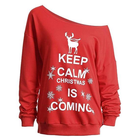 Sylar Camisetas Mujer Manga Larga Originales para Navidad Personalidad Carta Impresión Cuello Redondo Moda Casual Tops Pullover Blusa Camiseta: Amazon.es: ...