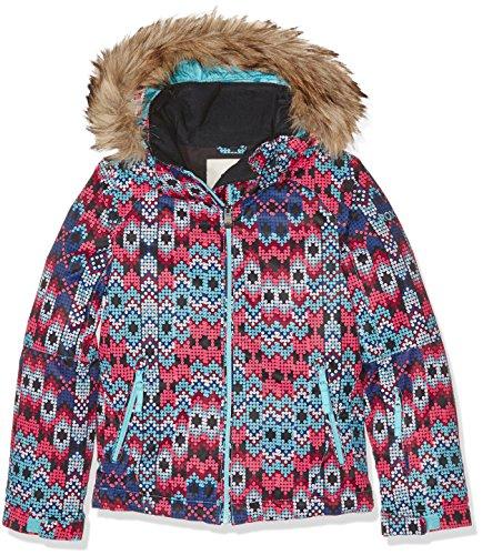 (Roxy Girls Girls Jet Ski Waterproof Breathable Insulated Pattern Ski Jacket Sequin Paradise Pink 12 - Chest 29.5