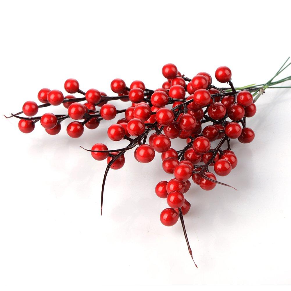 lulalula K/ünstliche Beeren Fake Mini Holly Berries Simulation Dekorative Fr/üchte 26 cm Pflanzen Blumenstrau/ß Hochzeit Party Favor rot 10Pcs