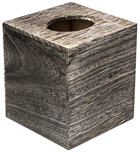 (Wood Tissue Box Cover Square Rustic Modern Holder with Slide-Out Bottom Panel by KnA Designs)