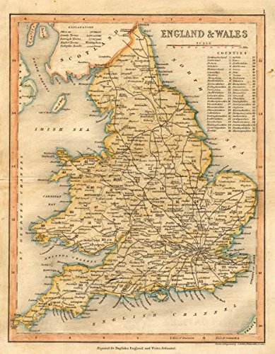 Map Of England Roads.Amazon Com England Wales Roads By Archer Dugdale C1845 Old
