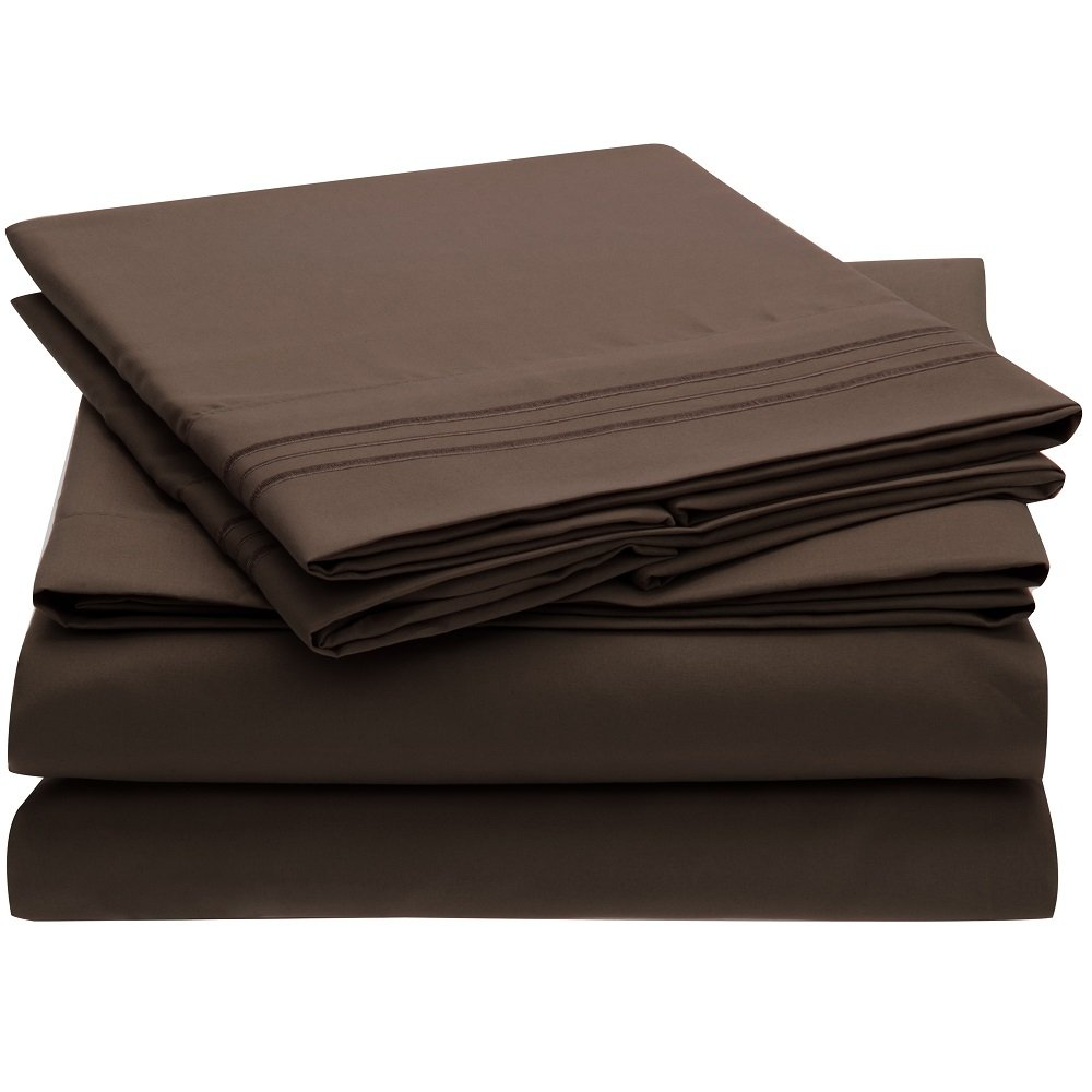 Microfiber Bedding - 4 Piece Queen, Brown