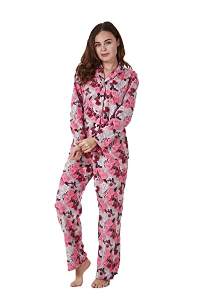 Conjunto de pijama para mujer - Forro polar - Estampado - Floral sobre rosa - EU 48-50: Amazon.es: Ropa y accesorios