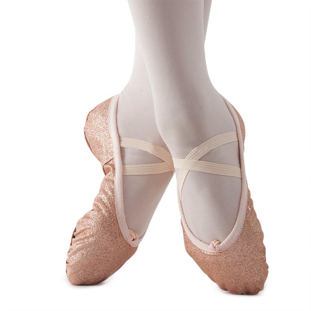 MSMAX Classic Ballet Shoe Soft Shinning Dance Flat,Gold,Toddler 8M US